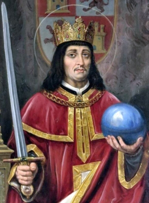 detail of a portrait of Saint Ferdinand III of Castille, c.1893, by Jose Maria Rodriguez de Losada, Ayntamiento de Leon, Spain