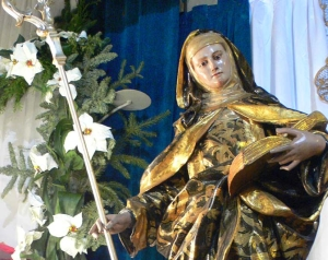 detail of a statue of Saint Florentina of Cartagena, church of Santa Maria de Gracia, Cartagena, Spain, by Francisco Salzillo, 18th century; photographed in January 2009 by Nanosanchez; swiped off Wikipedia