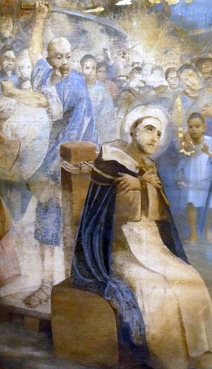 detail of a tapestry of the martyrdom of San Francisco Gil de Frederic; Antonio Cerveto, 1902; swiped from Wikimedia Commons