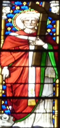 detail of a stained glass window of Saint Fulcrain, cathedral of Saint Fulcrain, Lodeve, France; date unknown, artist unknown; photographed on 1 July 2010 by Reinhardhauke; swiped off Wikimedia Commons
