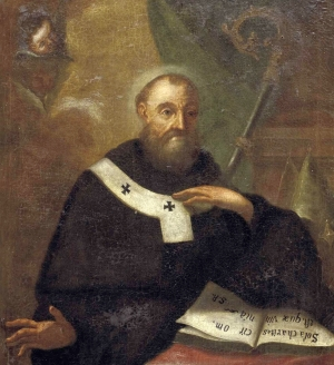 detail of a 17th century portrait of Saint Fulgentius of Ruspe