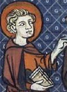 detail of an illustration of Saint Fursey of Péronne from a 16th century French 'Lives of the Saints' published in Paris, France; Richard de Montbaston et collaborateurs; swiped from Wikimedia Commons