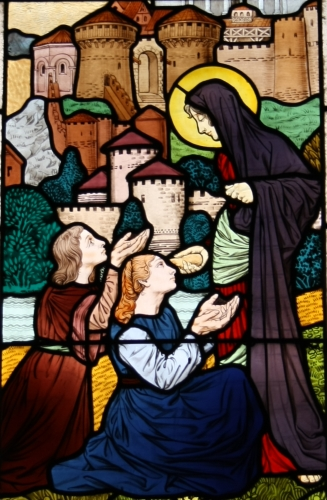 detail of a stained glass window, church of Saint-Honoré d'Eylau, Rue Raymond Poincaré, 16th arrondissement, Paris, France; by Félix Gaudin, date unknown; photographed on 12 September 2010 by GFreihalter; swiped from Wikimedia Commons