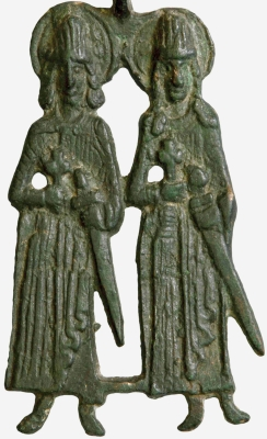 12th century effigy of Saint Gleb and Saint Boris, artist unknown; swiped from Wikimedia Commons