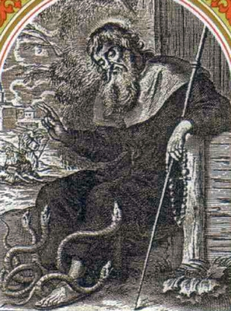 detail of an Italian holy card of Saint Godric of Finchale, date and artist unknown; swiped from Santi e Beati