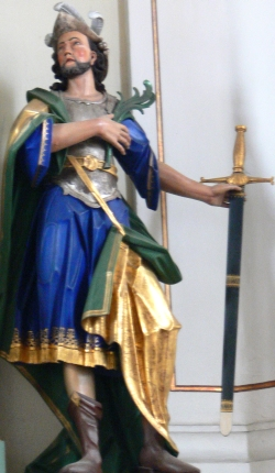 statue of Saint Gordianus; c.1780 by Konrad Hegenauer; Church of Saints Gordian und Epimachus, Merazhofen, Stadt Leutkirch im Allgäu, Landkreis Ravensburg, Germany; photographed in May 2009 by Andreas Praefcke; swiped from Wikimedia Commons