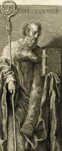 illustration of Saint Gregory of Nyssa; by Francesco Bartolozzi after Domenichino, 19th century; swiped from Wikimedia Commons