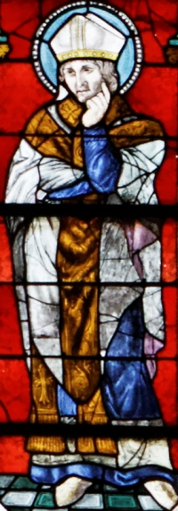 detail of a stained class window of Saint Guesnoveus of Quimper; date unknown, artist unknown; Saint Corentin Cathedral, Quimper, Brittany, France; photographed on 27 July 2013 by Thesupermat; swiped from Wikimedia Commons