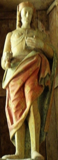 statue of Saint Venec; date unknown, artist unknown; Chapelle Saint-Venec de Briec, France; photographed on 28 July 2012 by GO69; swiped from Wikimedia Commons
