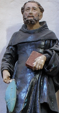 detail of a statue of Saint Goustan; date unknown, artist unknown; Abbey-church of Saint-Gildas-de-Rhuys, Morbihan, France; photographed in August 2007 by Romary; swiped from Wikimedia Commons