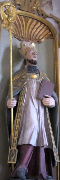 Hermenland, statue i kirken Saint-Hermeland i Sottevast i Manche i Bretagne