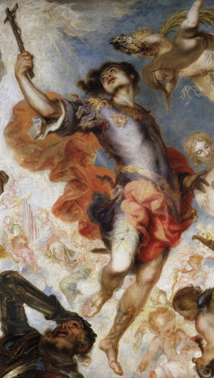 detail from the painting 'The Triumph of Hermengild'; by Francisco de Herrera the Younger, 1654, oil on canvas; Museo del Prado, Madrid, Spain; swiped from Wikimedia Commons