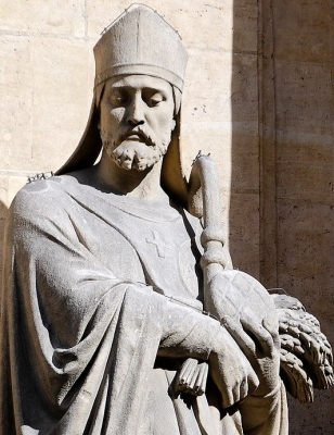 detail of a statue of Saint Honorius of Amiens; by Eugène Aizelin, 1873; church of Saint-Roch, Paris, France; photographed on 1 March 2008 by Marie-Lan Nguyen; swiped from Wikimedia Commons; click for source image