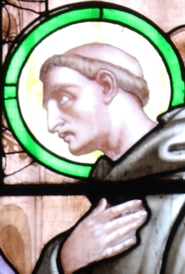 detail of a 19th century stained glass window by A Debelle of Saint Hugh of Grenoble, Choir of the Chapel Saint-Hugues, Cathédrale Notre-Dame de Grenoble, France; photographed in 2009 by Eusebius; swiped off Wikipedia