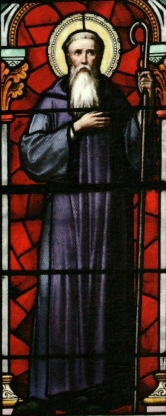 detail of stained glass window of Saint-Hugues de Semur, church of Saint Hilaire, Semur-en-Brionnais, France; date and artist unknown; photographed on 3 January 2011 by Jackydarne; swiped from Wikimedia Commons