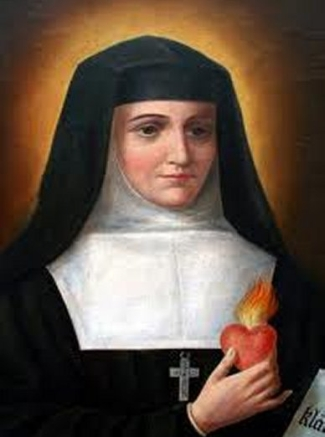 illustraiton of Saint Jeanne de Lestonnac holding her heart aflame with zeal for her vocation; date and artist unknown; swiped from Wikimedia Commons