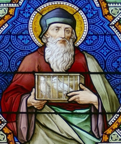 detail of a stained glass window of Saint Joachim, church of Saint-Alexis de Griesheim-près-Molsheim, Alsace, Bas-Rhin, France; by Ott Frères, 1914; photographed on 21 September 2016 by Ralph Hammann; swiped from Wikimedia Commons