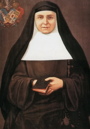 detail of an oil portrait of Saint Joaquina de Vedruna; 1903 by Francesc Morell i Cornet; swiped from Wikimedia Commons
