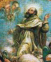 detail of an 18th century Italian painting of Saint John of Pulsano, artist unknown; swiped from Santi e Beati