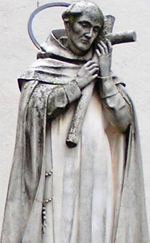 detail of a statue of Saint John of the Cross in the Plaza de las Carmelites, Beas de Segura, Jaén, Spain; date and artist unknown; photographed by Cosasdebeas on 29 November 2009; swiped from Wikimedia Commons