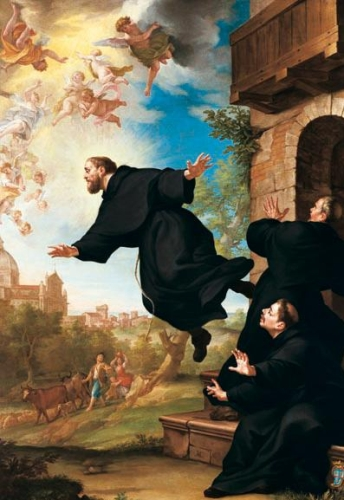 detail of the painting 'S. Giuseppe da Copertino si eleva in volo alla vista della Basilica di Loreto'; 18th century by Ludovico Mazzanti; Church of Saint Joseph of Cupertino, Osimo, Italy; swiped from Wikimedia Commons