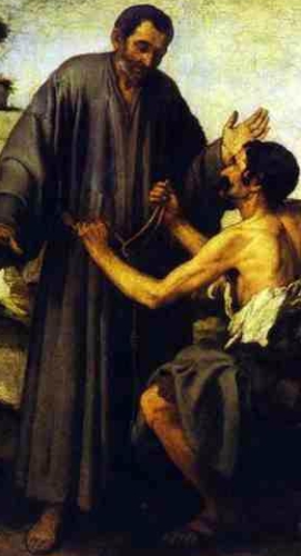 detail of the painting 'Brother Juniper and the Beggar' by Bartolomé Esteban Murillo, c.1645; Louvre Museum, Paris, France; swiped from Wikimedia Commons