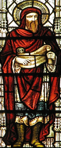detail of a stained glass window of Saint Justin Martyr; created by either Clayton and Bell, or Hardman and Co., or both (records vary), date unknown; Great Saint Mary's Church, Cambridge, England; photographed on 30 December 2006 by Father Paul Lew; swiped from Wikimedia Commons