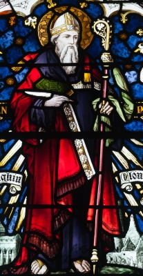 photograph of a detail of a stained glass window depicting Saint Kieran, artist unknown, date unknown, Saint Brendan's Church, Wilmer Road, Birr, County Offaly, Ireland; photographed on 10 September 2010 by Andreas F. Borchert; swiped off Wikipedia