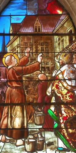 detail of a stained glass window of Saint Leobinus of Chartres saving Paris by extinguishing a fire by prayer; date and artist unknown; Church of Saint Leobin, Goincourt, Oise, France; photographed on 19 September 2009 by Chatsam; swiped from Wikimedia Commons