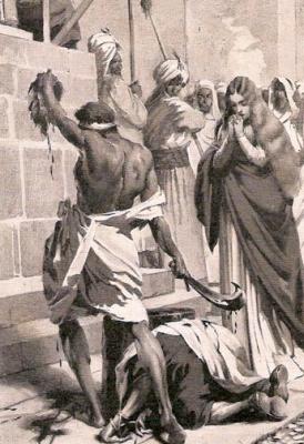 detail from Martyrdom of Saint Leocricia and Saint Eulalia of Cordoba, by Josep Segrelles, plate for Historia de España, c.1910; swiped off Wikimedia Commons