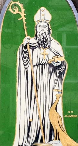 illustration of Saint Liborius of Le Mans from a wayside shrine in Bildstock am Tannenweg, Borchen, Kreis Paderborn., Germany; date and artist unknown; photographed on 28 March 2016 by Tsungam; swiped from Wikimedia Commons