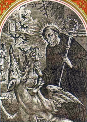 detail of an antique Italian holy card of Saint Liphardus of Orleans; swiped from Santi e Beati