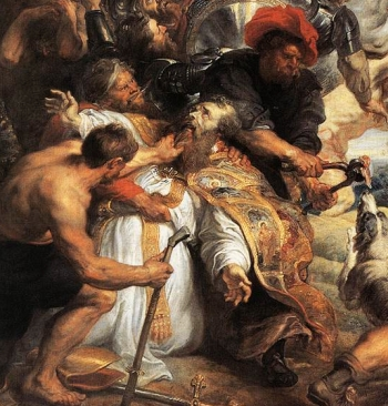 detail from the painting 'The Martyrdom of Saint Livinus'; by Pieter Pauwel Rubens, 1633; Musées Royaux des Beaux-Arts, Brussels, Belgium; swiped from Wikimedia Commons