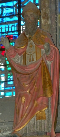 statue of Saint Lucien de Beauvais; date and artist unknown; Cathedrale of Beauvais, Oise, France; photographed on 28 June 2009 by Chatsam; swiped from Wikimedia Commons