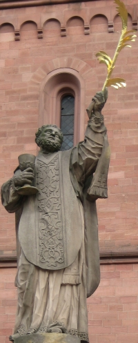 detail of a statue of Saint Marcellinus; date and artist unknown; photographed on 5 September 2007 by Agridecumantes; swiped from Wikimedia Commons