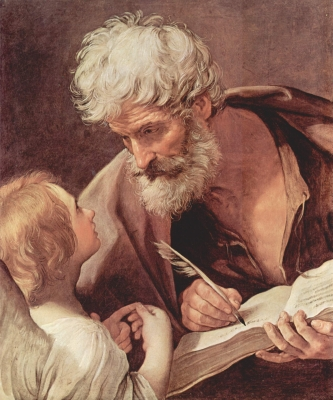 portrait of Saint Matthew the Apostle being instructed by an angel, by Guido Reni, c.1635