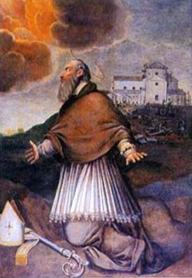 detail of a holy card of Saint Maurus of Cesena, date and artist unknown; swiped from Santi e Beati