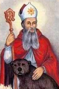 detail of an Italian holy card of Saint Maximinus of Trier by Bertoni; swiped from Santi e Beati