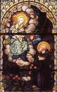 Saint Meinrad stained glass window, Saint Meinrad Abbey, Saint Meinrad, Indiana, USA; artist unknown; many thanks to Novice Shawn Henderson; pray for Shawn's vocation