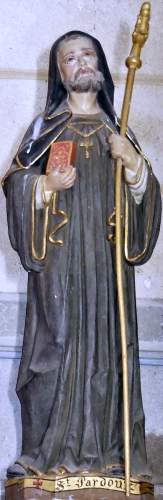 statue of Saint Pardoux, date and artist unknown; church of La Serre-Bussière-Vieille, Creuse, France; photographed on 1 June 2018 by Père Igor; swiped from Wikimedia Commons