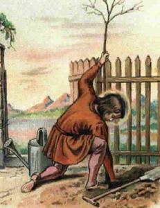 detail of a German Saint Phocas the Gardener holy card, date and artist unknown