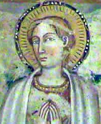 Saint Pudentiana of Rome from a 15th century fresco, church of Santa Pudenziana, Narni, Italy