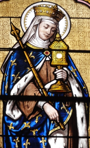 detail of a stained glass window of Saint Radegund, date and artist unknown; church of Saint Blaise, Sainte-Maure-de-Touraine; photographed on 11 June 2012 by Havang(nl); swiped from Wikimedia Commons