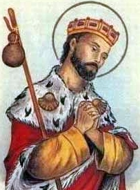 detail of an Italian holy card of Saint Richard the King by Bertoni, date unknown; swiped from Santi e Beati