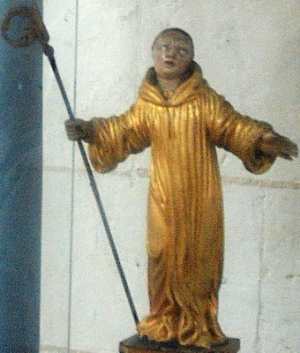 detail of a statue of Saint Richarius of Celles in a reliquary and shrine, abbey of Saint-Riquier, France, artist unknown