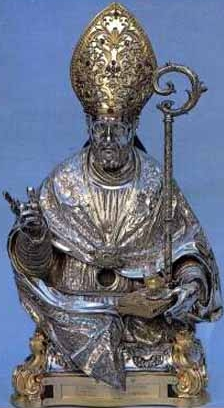 silver reliquy for San Sabino Atripalda; date and artist unknown; Church of San Ippolisto, Atripalda, Italy; swiped from Santi e Beati