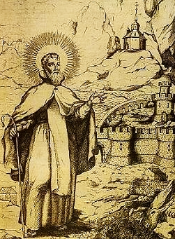 illustration of Saint Saturius of Soria by Palacios Derriba, 1708; swiped from Wikimedia Commons