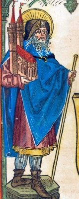 Saint Sebald from a German woodcut, c.1480; swiped off the National Gallery of Art