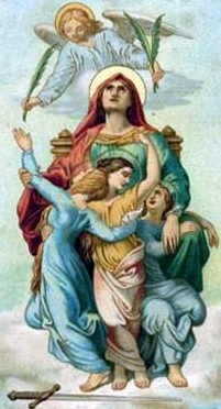 detail from an antique holy card of Saint Sophia with her daughters Saint Faith, Saint Hope and Saint Agape, artist unknown
