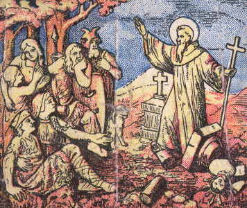 image of Saint Sturmi of Fulda destroying pagan temples and preaching to the locals; from a 1921 Niedermarsberg, Germany 1 Mark note; swiped from Wikimedia Commons